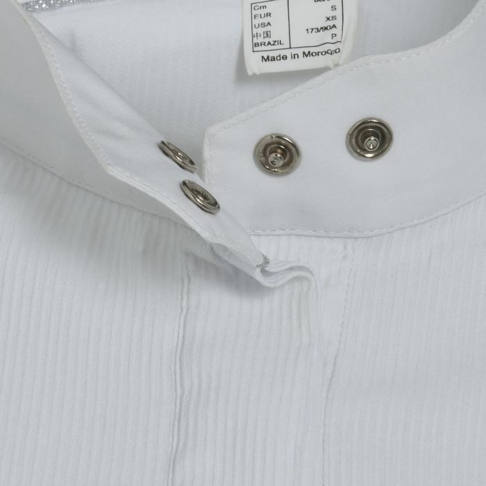 Chemise manches courtes Concours équitation femme blanc broderie argent - 314700
