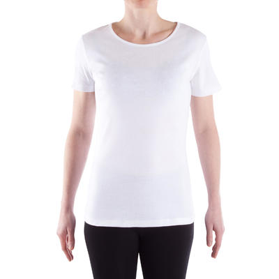 100 Sportee Women's 100% Cotton Pilates & Gentle Gym T-Shirt - White
