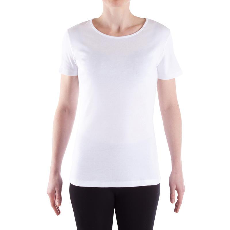 Women's Pilates & Gentle Gym 100% Cotton Sport T-Shirt 100 - White