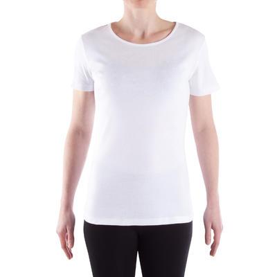 Жіноча футболка 100 Sportee для занять на розтяжку - Біла