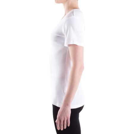 100 Pilates & Gentle Gym 100% Cotton Sport T-Shirt - White - Women's