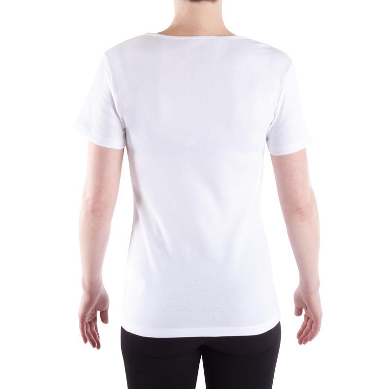 Camiseta 100% algodón Sportee 100 Pilates y Gimnasia suave mujer blanco