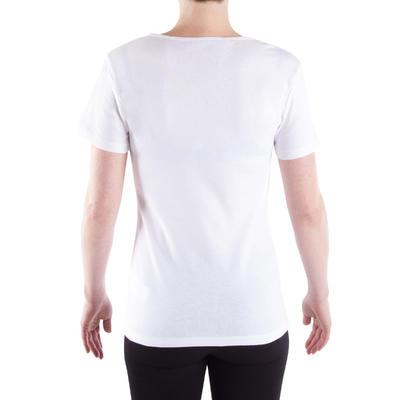 חולצת T 100 צמודה ונמתחת לנשים - לבן