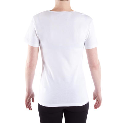 Women's Pilates & Gentle Gym 100% Cotton Sport T-Shirt 100 - White