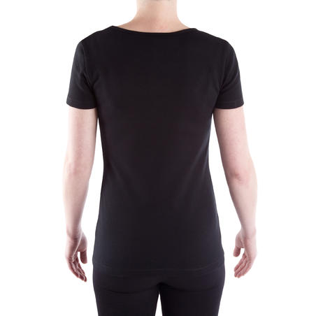 Essential Athletee Women's Cotton and Elastane Fitness T-Shirt - Black