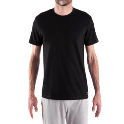 Men's Gym T-Shirt Regular Fit Sportee 100 - Black