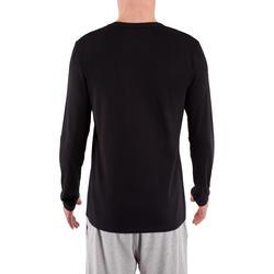 T-Shirt Pilates & Senam Ringan Lengan Panjang Regular-Fit 120 - Hitam