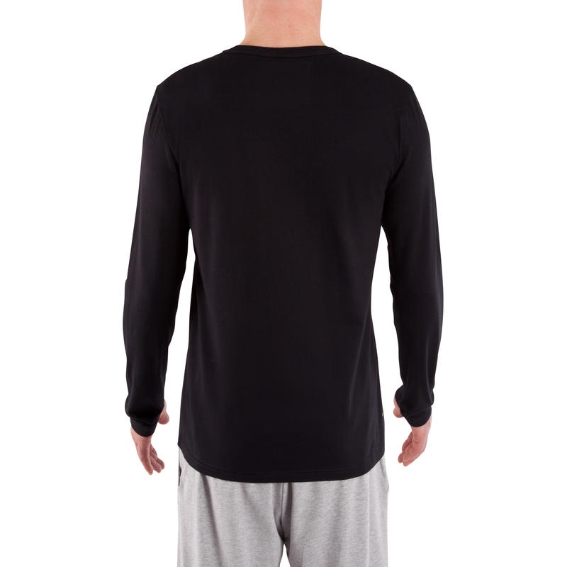 120 Regular-Fit Long-Sleeved Pilates & Gentle Gym T-Shirt - Black