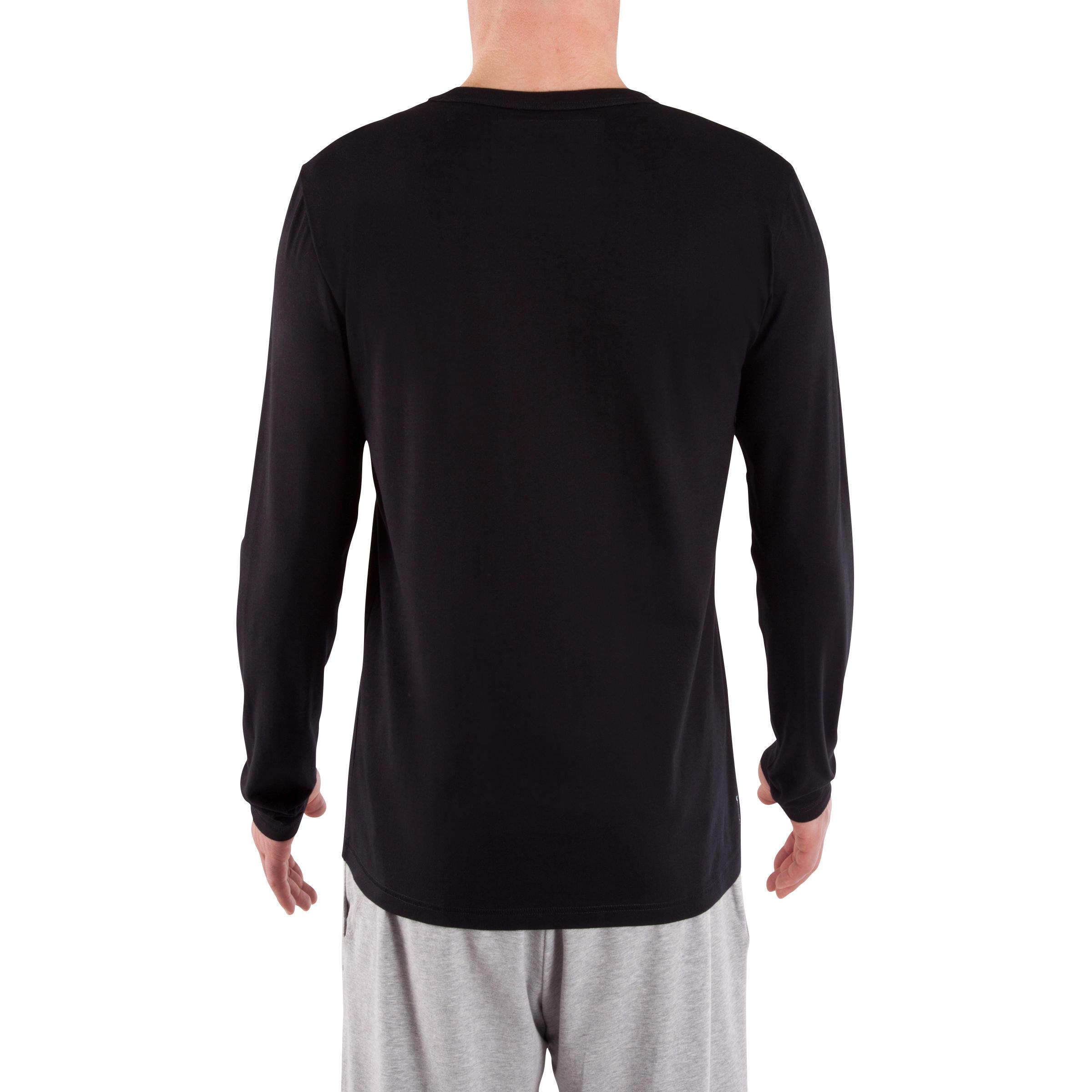 120 Regular-Fit Long-Sleeved Pilates & Gentle Gym T-Shirt - Black