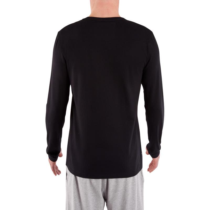 Men's Regular-Fit Long-Sleeved Pilates & Gentle Gym Sport T-Shirt 100 - Black