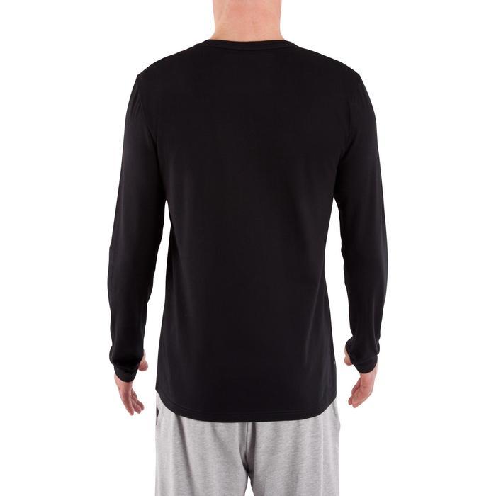Shirt met lange mouwen voor pilates en lichte gym heren 100 regular fit zwart