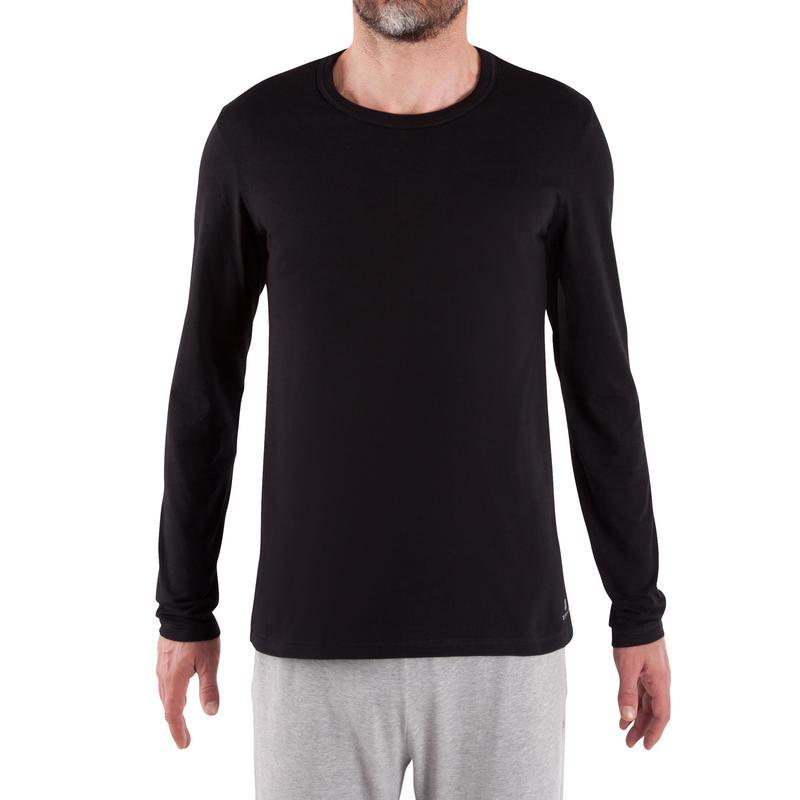 Pánské tričko 120 s dlouhým rukávem na pilates černé Domyos  173f80c0e3