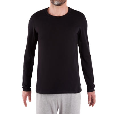 100 Regular-Fit Long-Sleeved Pilates & Gentle Gym T-Shirt - Black