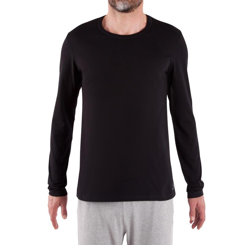 Camiseta 120 de manga larga regular Pilates y Gimnasia suave negro hombre