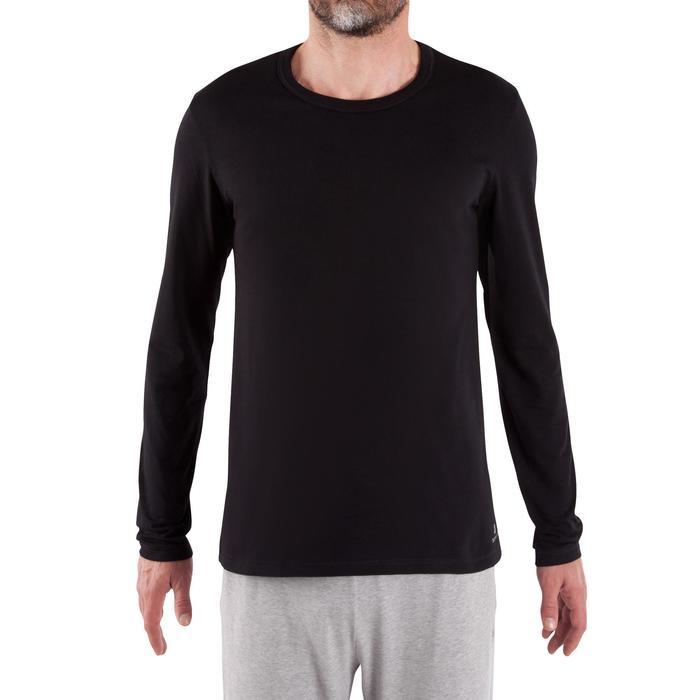 Shirt met lange mouwen voor pilates/lichte gym heren 100 regular fit zwart