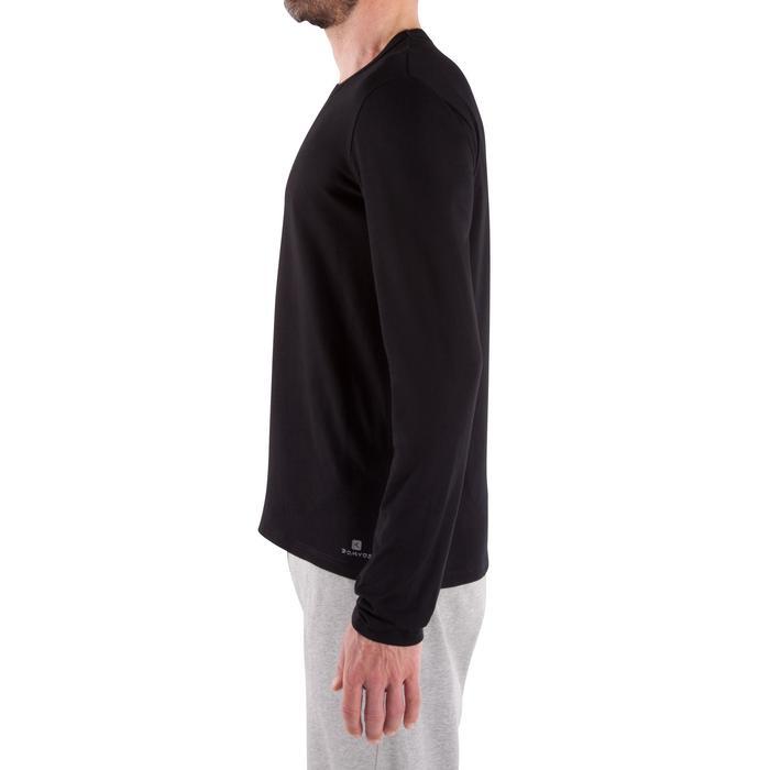 T-shirt 120 lange mouwen regular fit pilates en lichte gym heren zwart