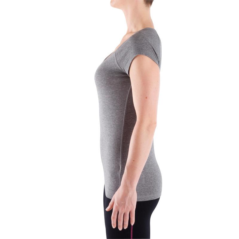 Women's Short-Sleeved Slim-Fit Gym & Pilates T-Shirt - Mottled Grey