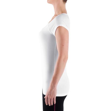 500 T-Shirt Gym Ringan & Pilates Slim-Fit Wanita - Putih