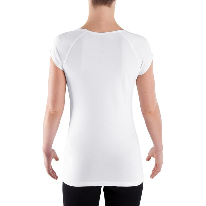 T-Shirt 500 Slim Gym Stretching Damen weiß