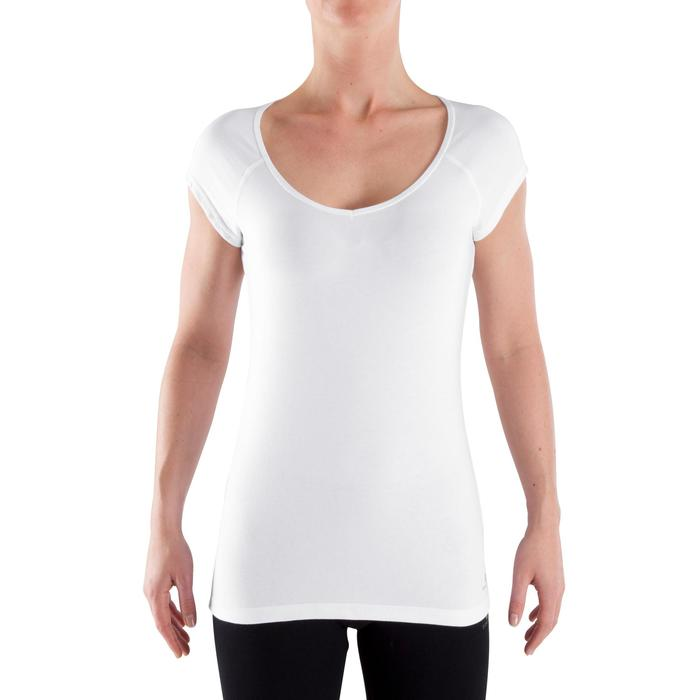 500 Women's Slim-Fit Gym Stretching T-Shirt - White