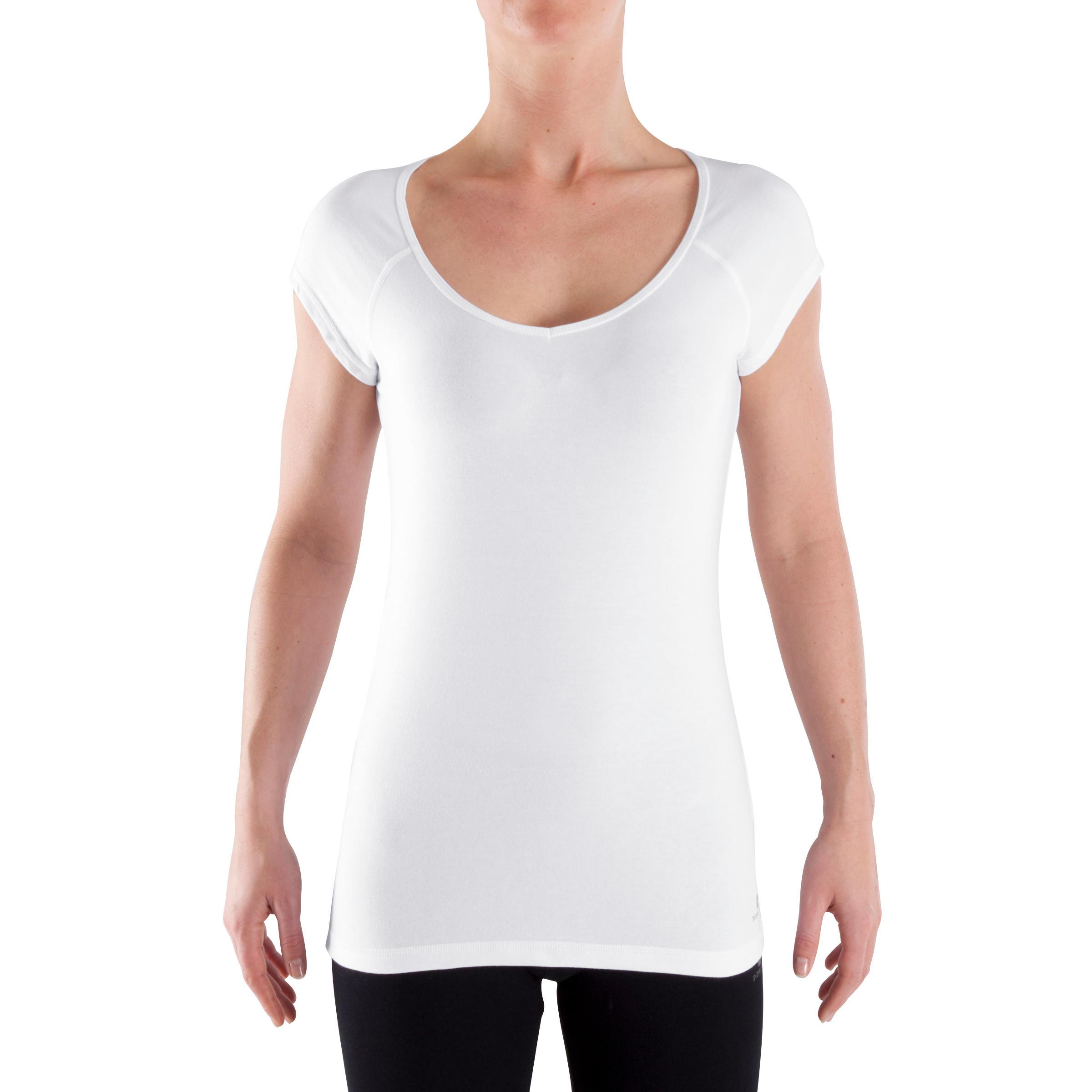 T-shirt 500 ajusté manches courtes Gym et Pilates femme blanc