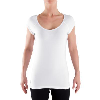 Жіноча футболка 500 Gym Stretching, приталеного крою - Біла