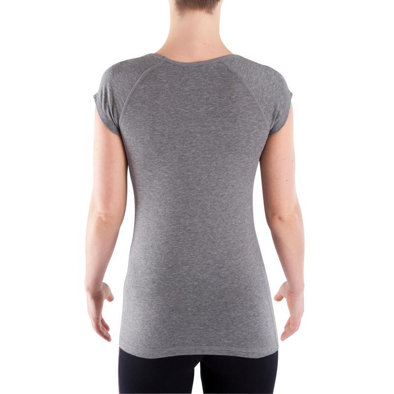 Camiseta 500 slim Pilates y Gimnasia suave mujer gris jaspeado