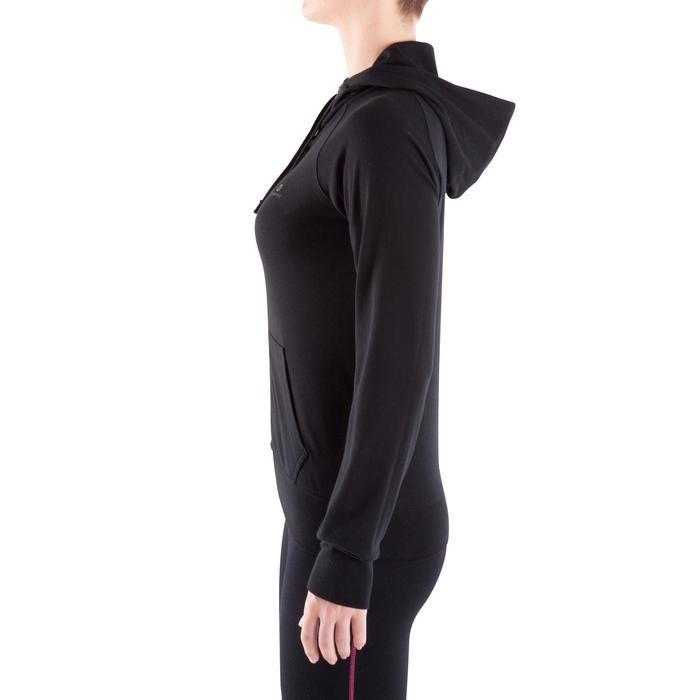 Dameshoodie met rits voor gym en pilates zwart
