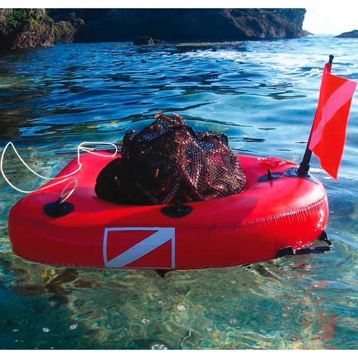 Opblaasbare duikboei Dive net voor harpoenvissen met geïntegreerd net.