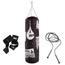 Bokszak cardio set, inclusief bokshandschoenen en springtouw