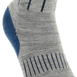 2 paar sokken Arpenaz Warm voor winterse trektochten, grijs en koraal - 324785