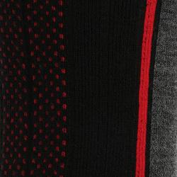 Chaussettes de randonnée d'hiver adulte SH520 x-warm mi-hauteur noires rouge.