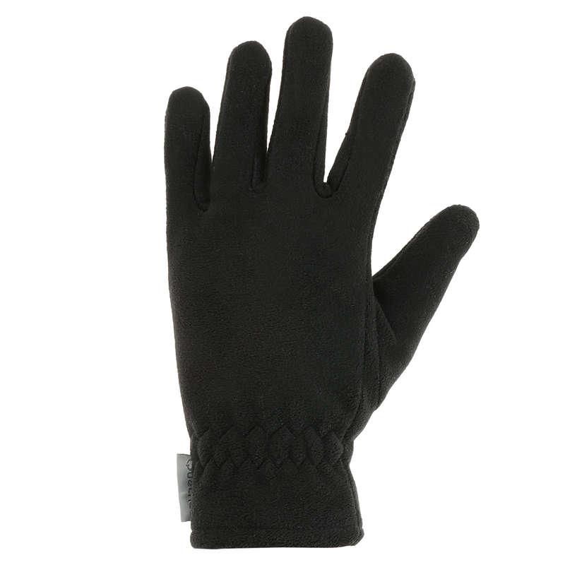 CHILDREN SNOW HIKING GLOVES & WARM SOCKS Hiking - Forclaz 100 Kids Gloves - Black QUECHUA - Hiking Clothes