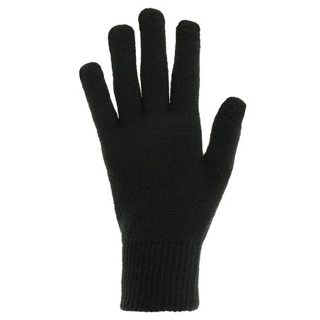TREK 500 Adult knitted Trekking Mountain Gloves - Black