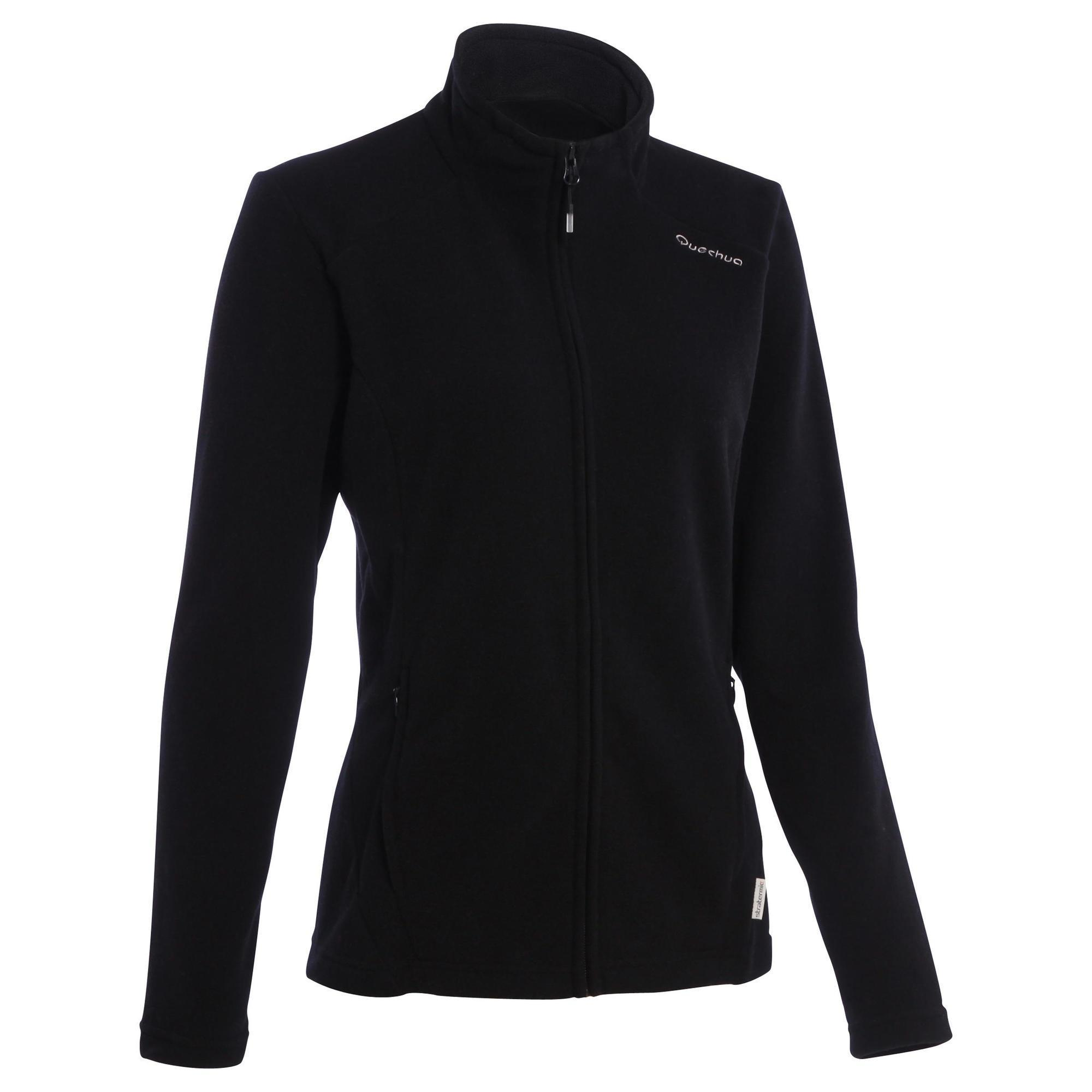 Fleecejacke Bergwandern MH120 Damen schwarz | Bekleidung > Jacken > Fleecejacken | Schwarz | Quechua