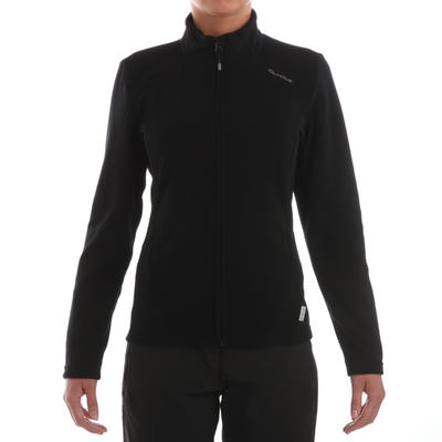 Women's MH120 black mountain hiking fleece jacket