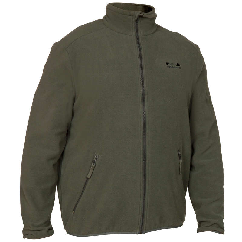 FLEECES/PADDED JACKETS Shooting and Hunting - 100 FLEECE Green SOLOGNAC - Hunting and Shooting Clothing