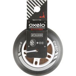 1 roue trottinette 100mm avec roulements noire