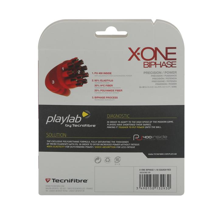 CORDAGE DE SQUASH X-ONE BIPHASE 1,18 ROUGE - 329374