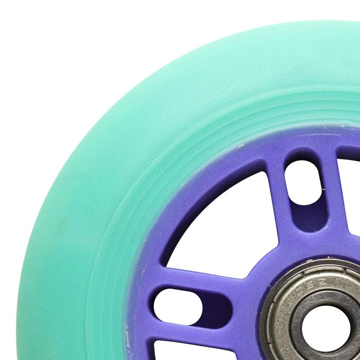 1 roue trottinette 100mm avec roulements verte