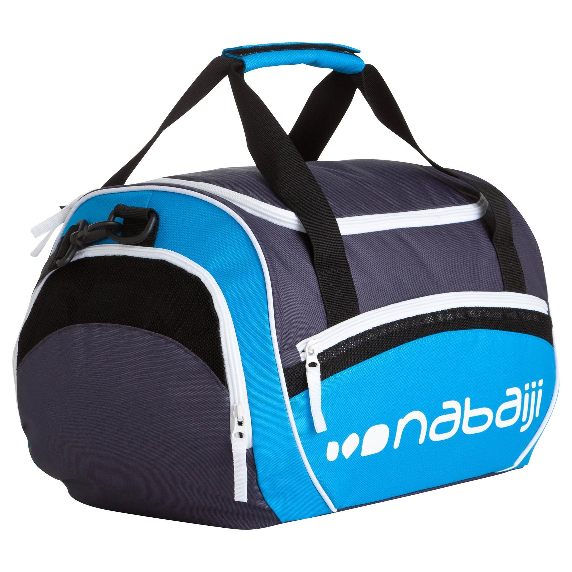 Sac natation 30l gris bleu nabaiji for Protege oreille piscine decathlon