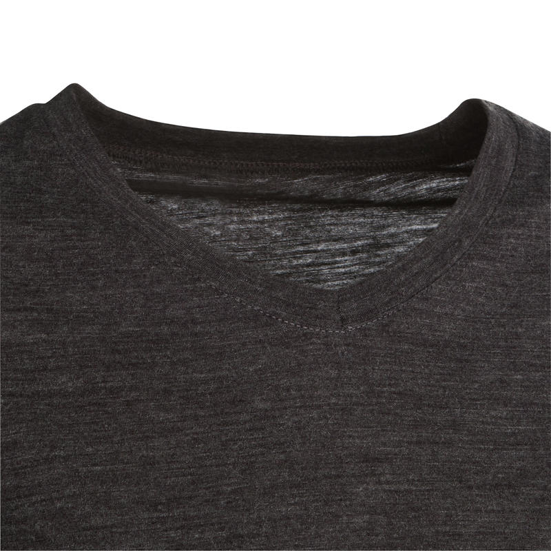 Women's Trekking Long-Sleeved Merino Wool T-Shirt TRAVEL500 - Grey