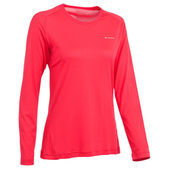 T-shirt lange mouwen trekking Techfresh 50 dames - 336307