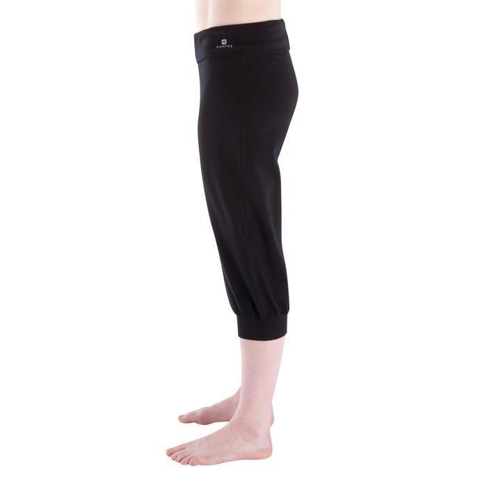 Corsario de algodón biológico gimnasia suave yoga, pilates, mujer, negro