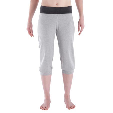 Women's gentle gymnastics, yoga organic cotton cropped trousers - light grey