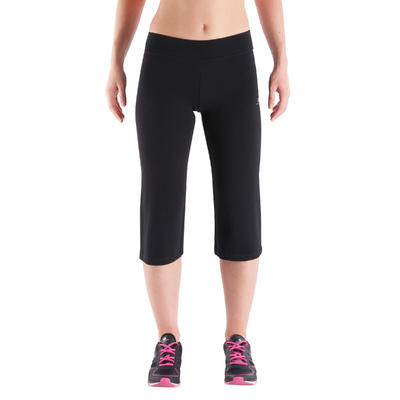 FIT+ Women's Regular-Fit Fitness Cropped Bottoms - Black