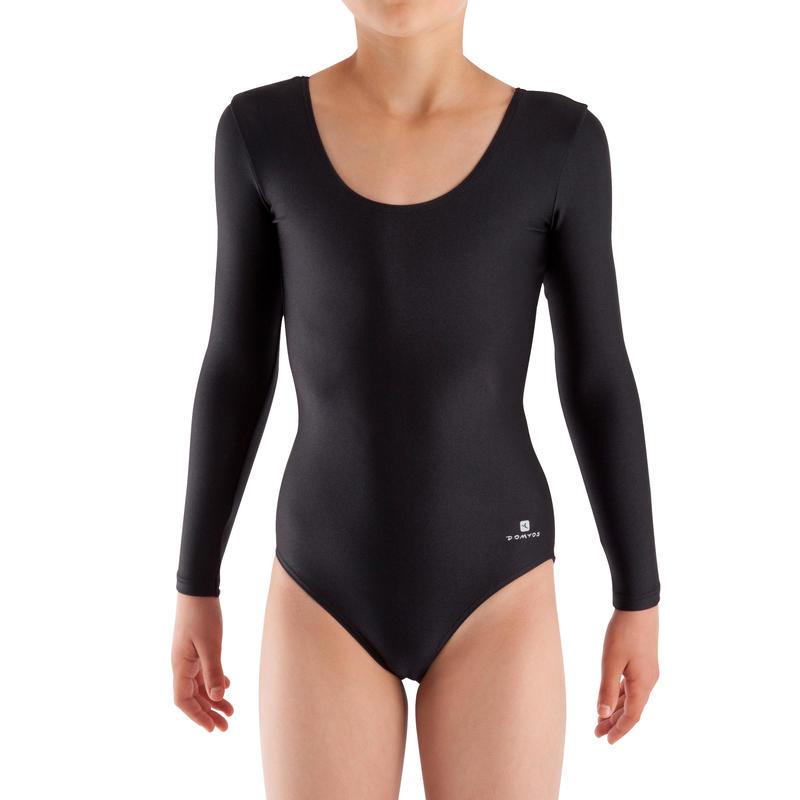 Girls' Long-Sleeved Gym Leotard (WAG and RG) - Black