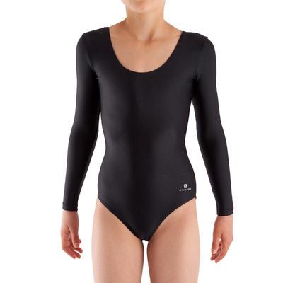 Justaucorps manches longues Gymnastique Fille (GAF et GR) noir.
