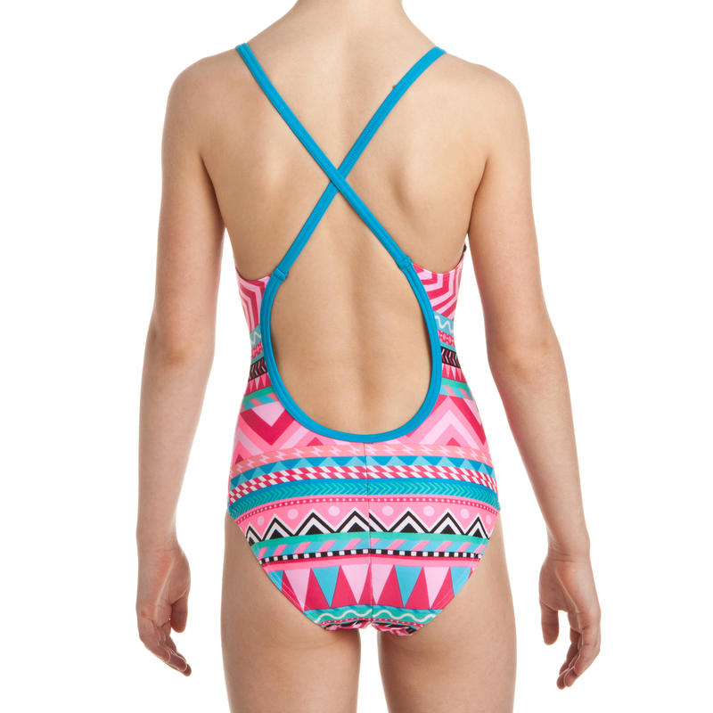 Riana girls' one-piece swimsuit - All Nava Pink