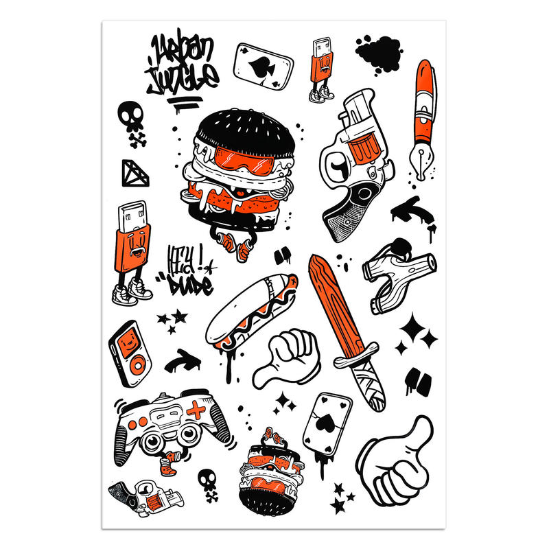 Urban Jungle Inline Skate Skateboard Scooter Helmet Stickers - Orange/Black